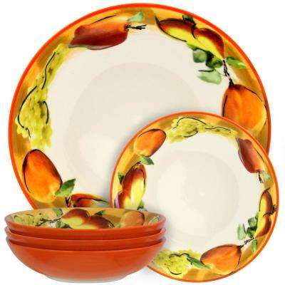 Fruitful Bounty Orange with Fruits Designs Pasta Serving Bowl (Set of 5)