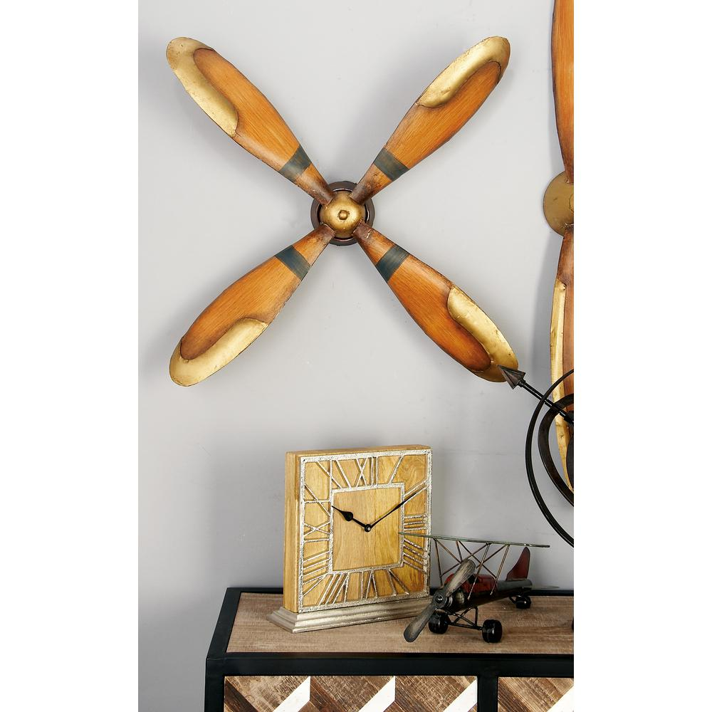 4-Blade Vintage Iron Caramel Brown and Gold Plane Propeller Wall Decor