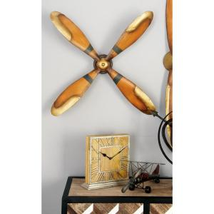 4-Blade Vintage Iron Caramel Brown and Gold Plane Propeller Wall Decor by