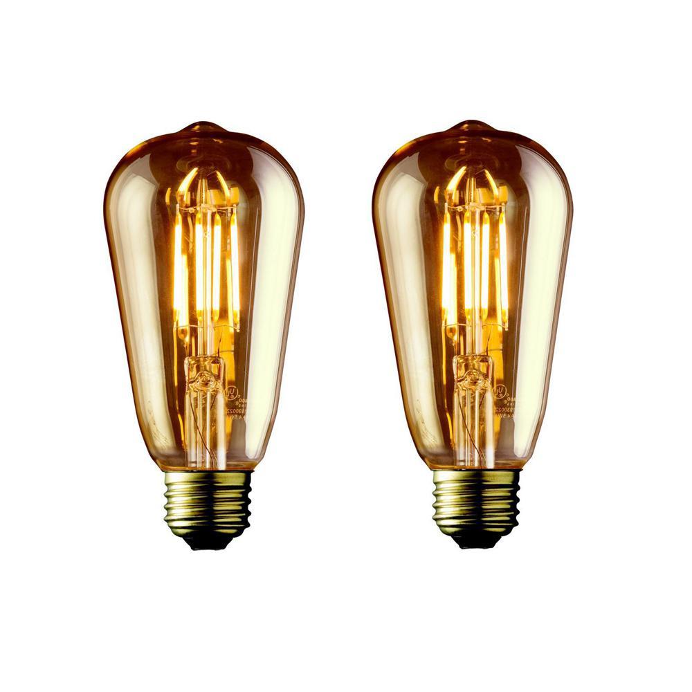40W Equivalent Warm White ST19 Amber Lens Vintage Edison Dimmable LED Light Bulb (2-Pack)