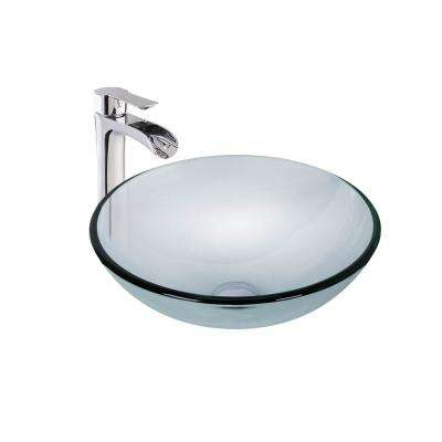 Vessel Glass Bathroom Sink in Crystalline and Niko Faucet Set in Chrome