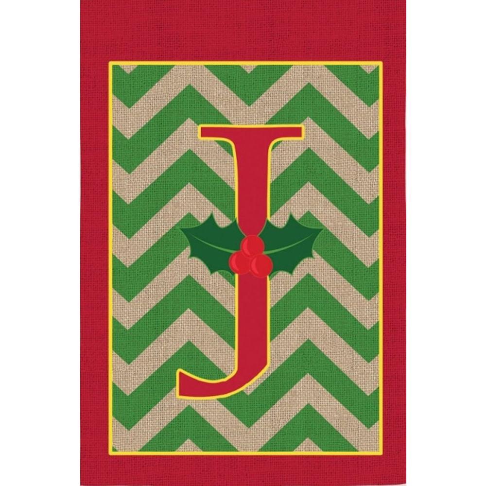 1 ft. x 1.5 ft. Monogrammed J Holly Burlap Garden Flag