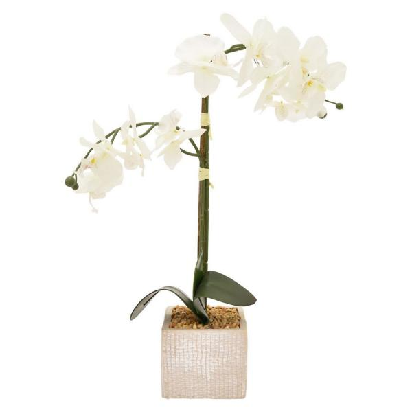 THREE HANDS 17 in. x 4 in. White Faux Orchid Flower Pot