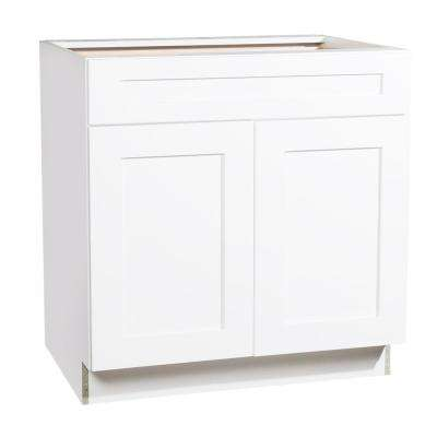 Ready to Assemble 33x34.5x23.7 in. Shaker 1 Drawer 2 Door Base Cabinet in White with Soft-Close
