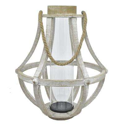 Wood Lantern with Glass