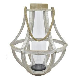 THREE HANDS Wood Lantern with Glass by THREE HANDS