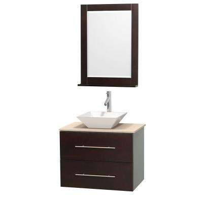 Centra 30 in. Vanity in Espresso with Marble Vanity Top in Ivory, Porcelain Sink and 24 in. Mirror