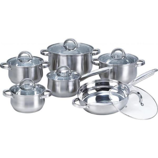 Heim Concept Premium 12-Piece Stainless Steel Cookware Set with Glass Lids