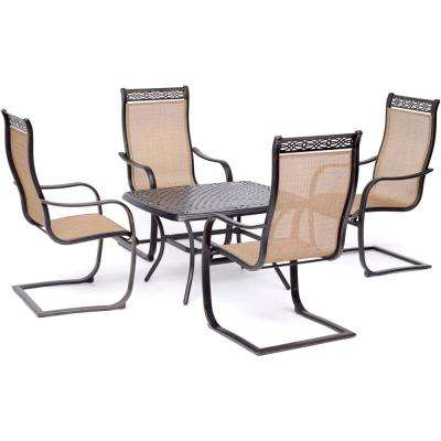 Manor 5-Piece Aluminmum Patio Conversation Set with 4 C-Spring Rockers and Cast-Top Coffee Table