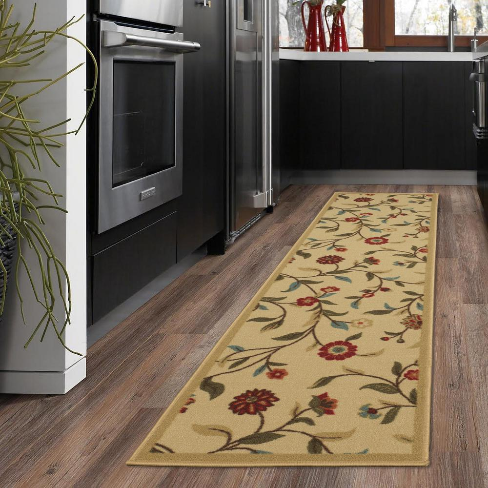 Rooster Tapestry Non Skid Rug: Ottomanson Ottohome Collection Floral Garden Design Beige