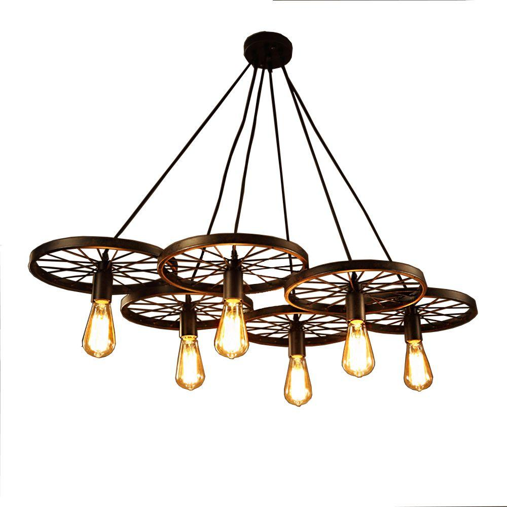 Warehouse of tiffany nathaniel 6 light black edison chandelier with bulbs