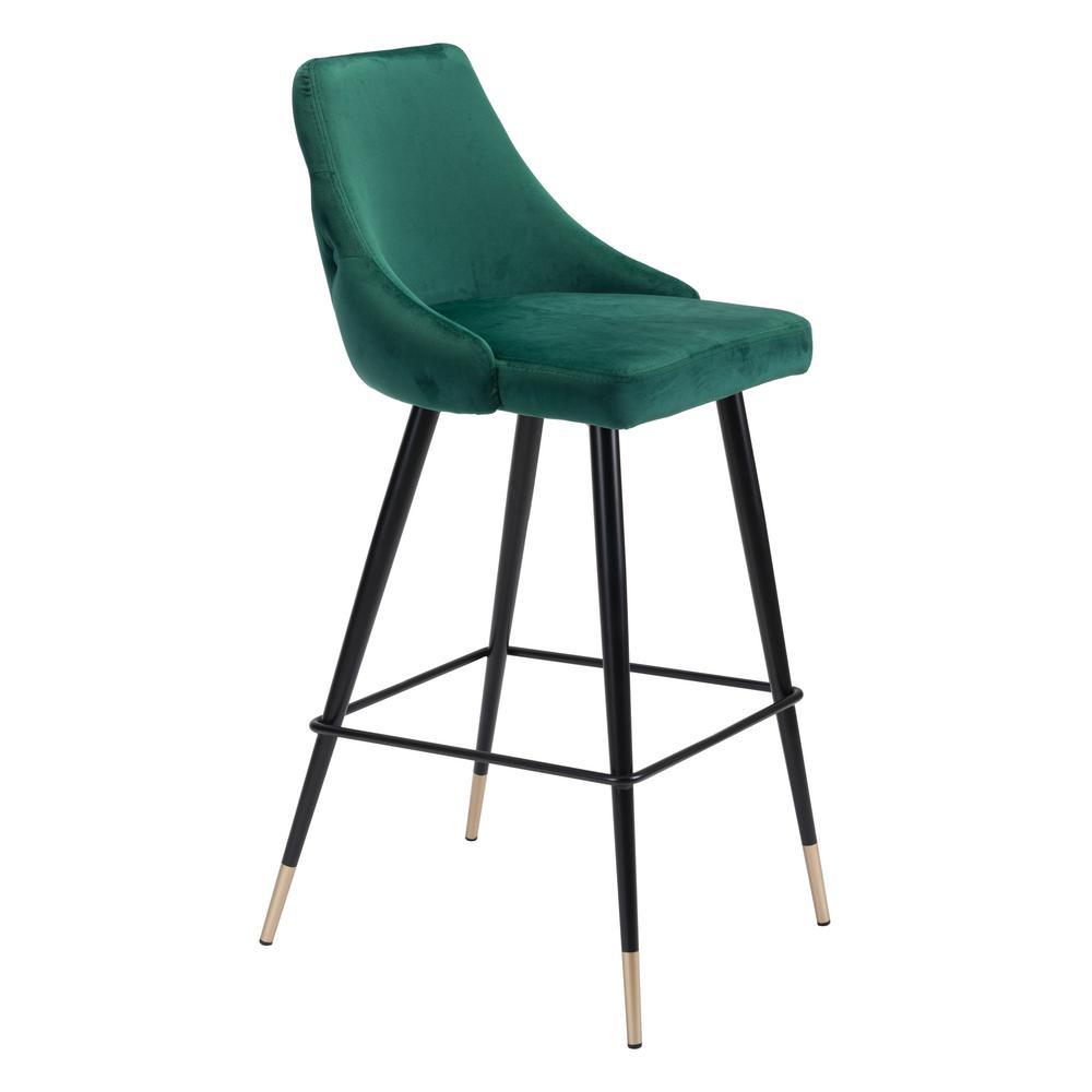 Piccolo 40.6 in. Green Velvet Bar Chair