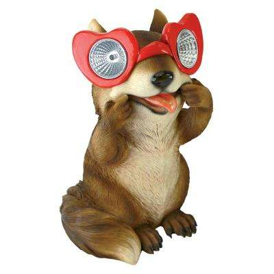 8 in. H Bright Eyes Solar Squirrel Garden Statue