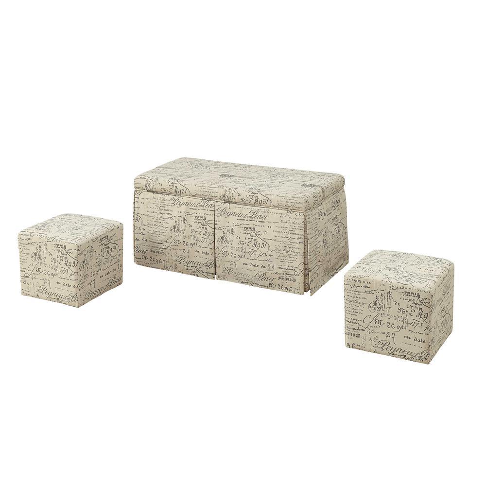 ACME Furniture Delana 3 Piece Tan Linen Storage Bench And Ottoman Set
