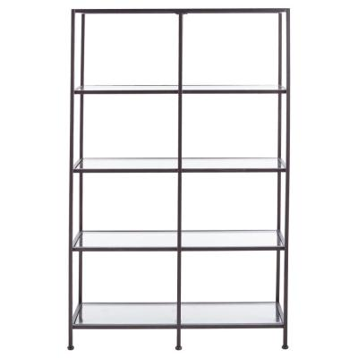 Bella Aged Bronze 40 in. Wide Glass Bookcase
