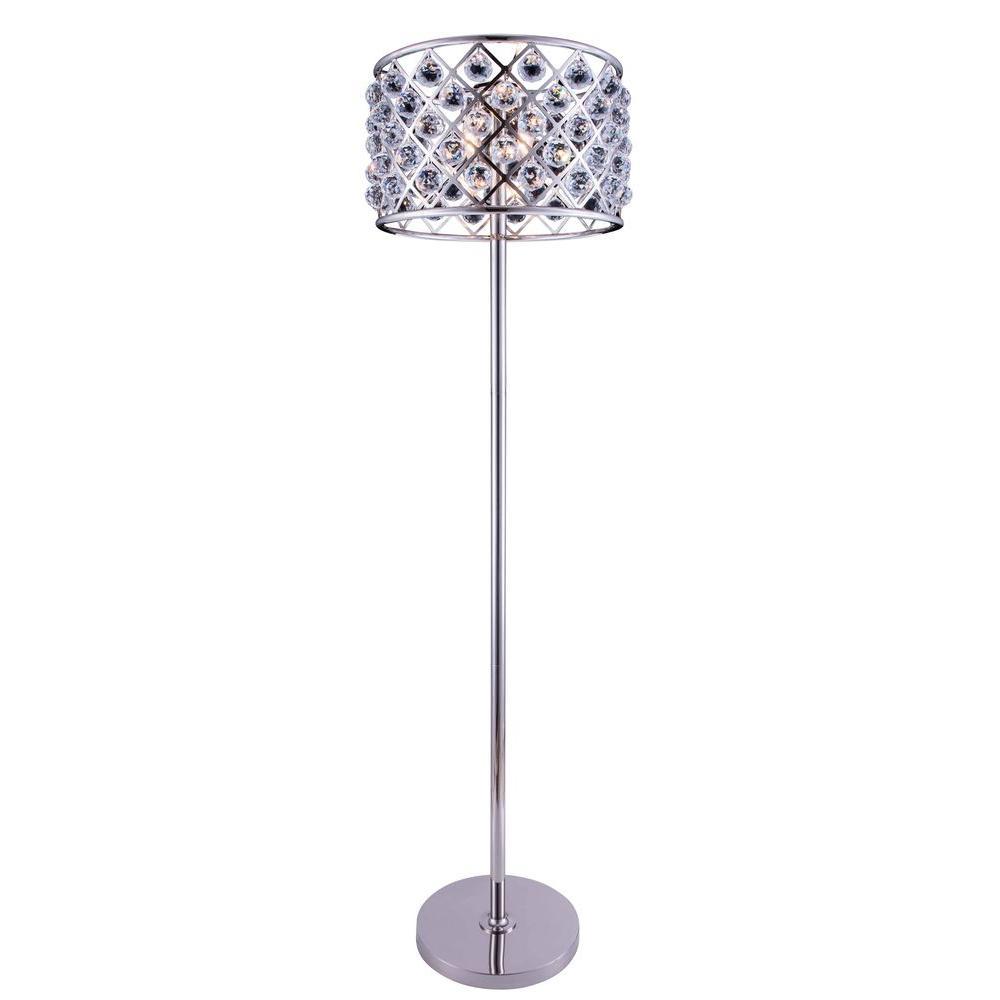 Elegant Lighting Madison 72 in. Polished Nickel Floor Lamp with ...