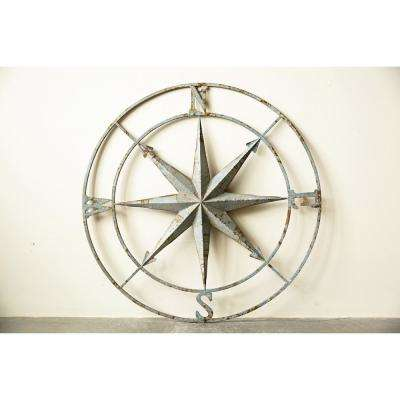 41 in. x 41 in. Distressed Aqua Iron Metal Wall Compass
