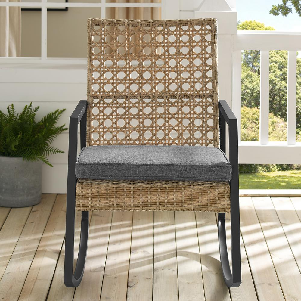 Walker Edison Furniture Company Light Brown Rattan Modern Patio Rocking Chair with Grey Cushion
