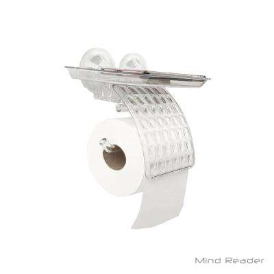 Toilet Paper Holder with Phone Holder in Clear Plastic