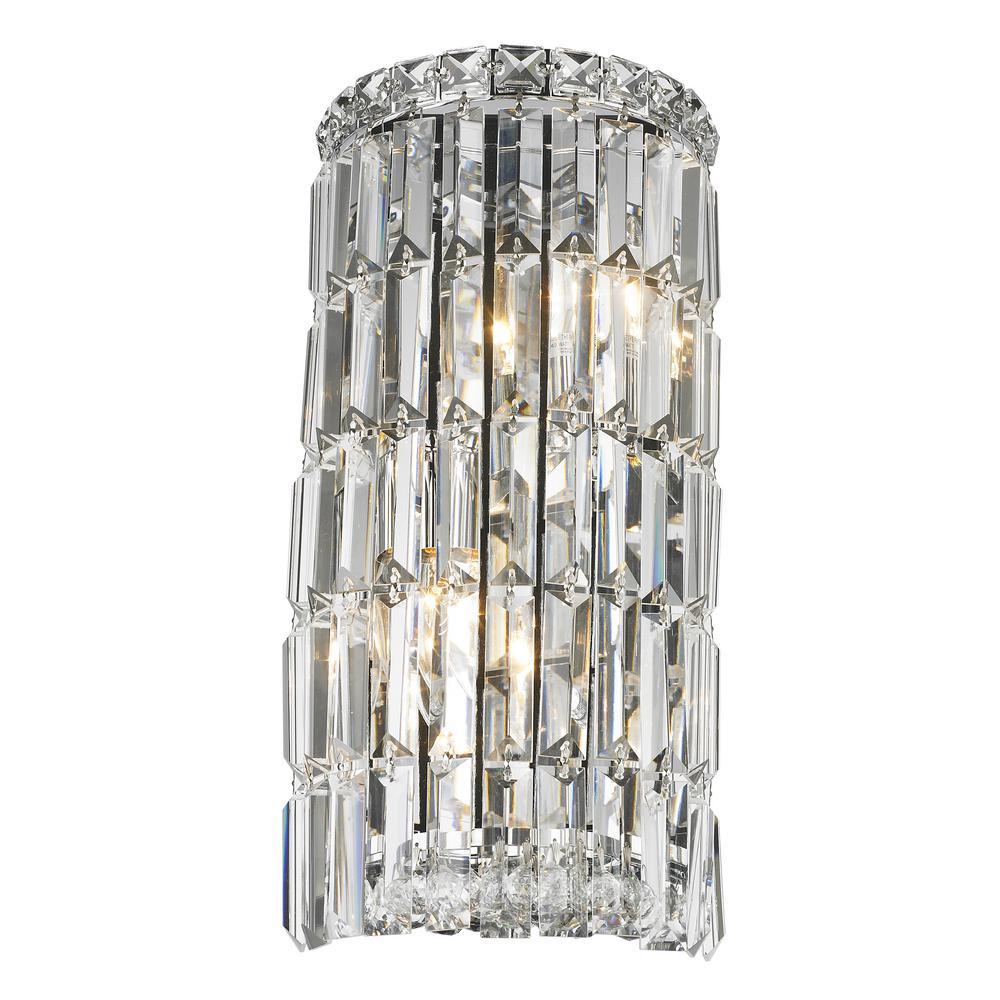 Worldwide Lighting Cascade 2-Light Chrome Clear Crystal Sconce