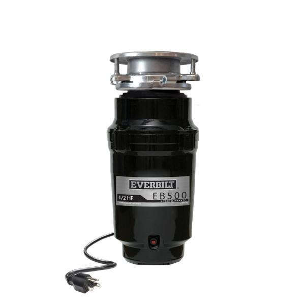 1/2 HP Standard Continuous Feed Garbage Disposal with Stainless Steel Sink Flange and Attached Power Cord