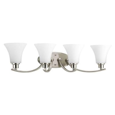 Joy Collection 4-Light Brushed Nickel Vanity Light with Etched Glass Shades