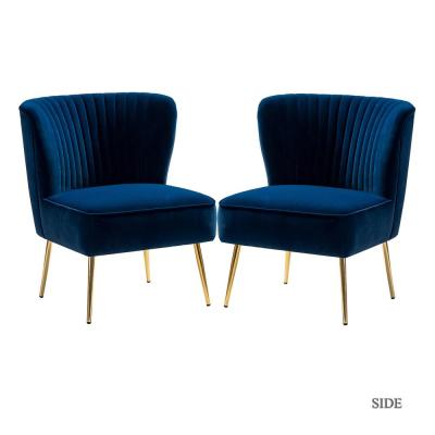 Monica Navy Gold Legs Side Chair Set of 2