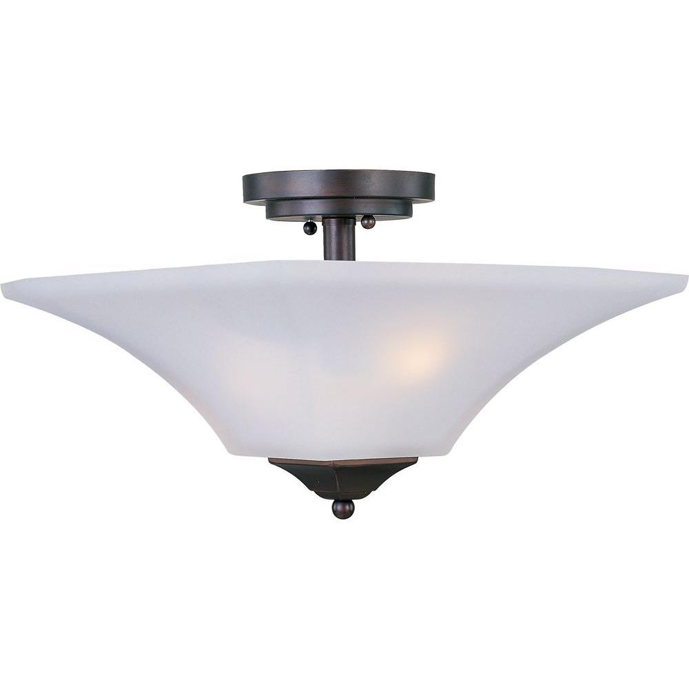 Aurora 2-Light Oil-Rubbed Bronze Semi-Flush Mount Light