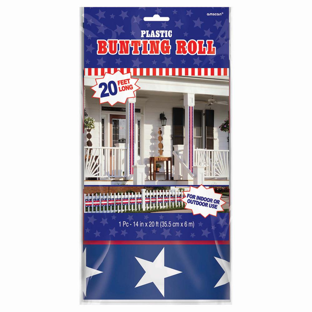Amscan 12 in x 20 ft patriotic bunting roll 3 pack for Patriotic decorations for home