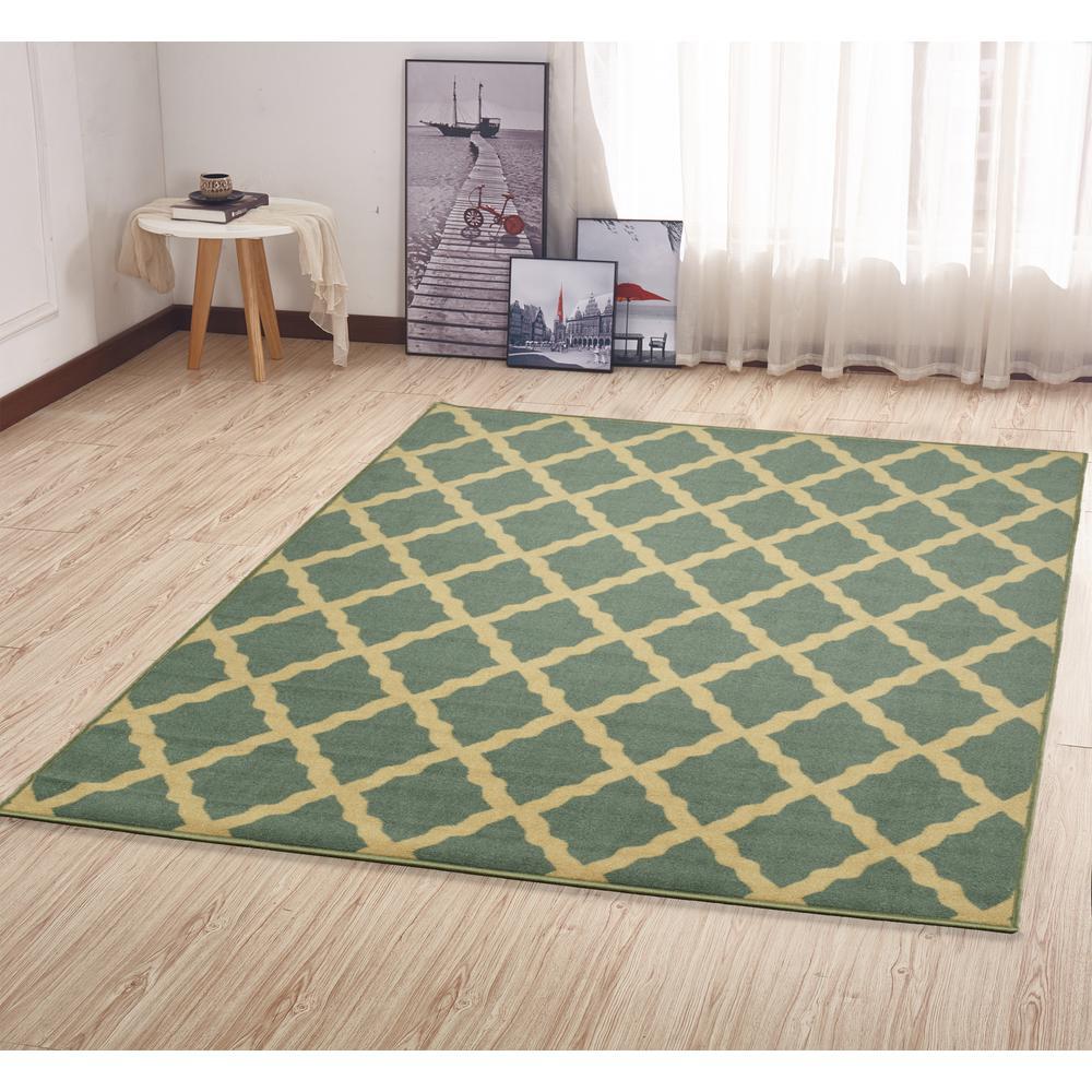 Ottomanson Contemporary Moroccan Trellis Design Sage Green