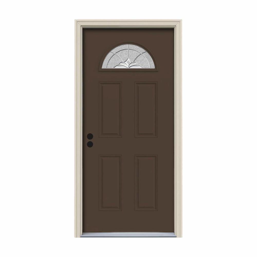 32 in. x 80 in. Fan Lite Langford Dark Chocolate Painted Steel Prehung Right-Hand Inswing Front Door w/Brickmould