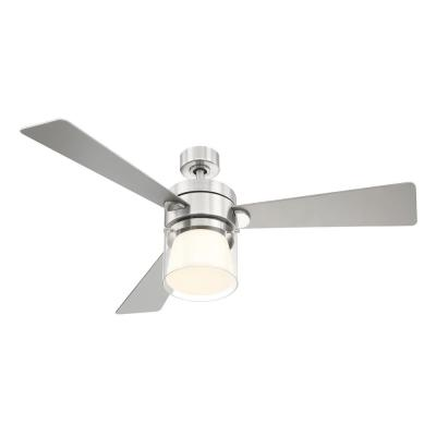 Casou 52 in. LED Integrated Light 3 Blade Brushed Nickel Ceiling Fan with Remote Control