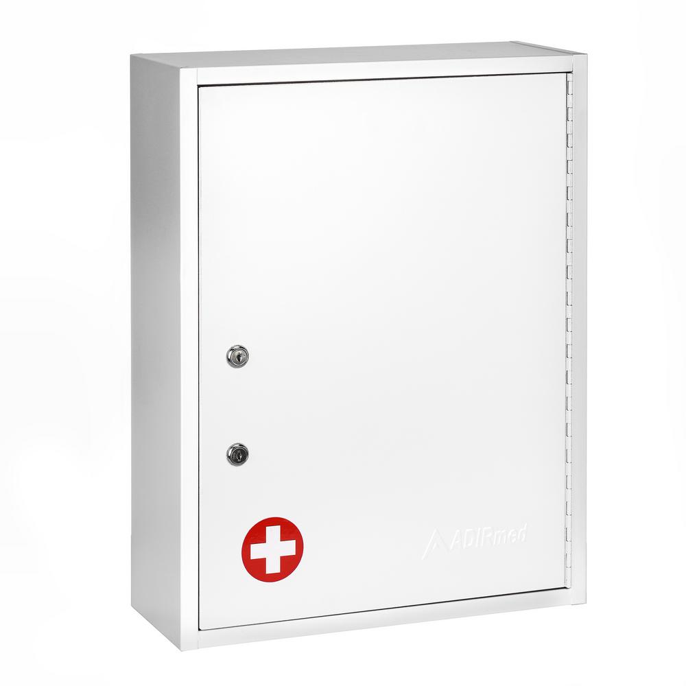 AdirMed 21 in. H x 16 in. W x 6 in. D Large Dual Lock Surface-Mount Medical Security Cabinet in White