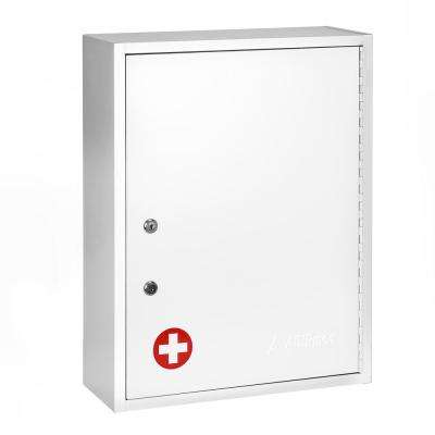 21 in. H x 16 in. W x 6 in. D Large Dual Lock Surface-Mount Medical Security Cabinet in White