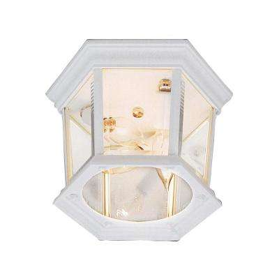 San Marcos White 3-Light Outdoor Flush Mount Lantern