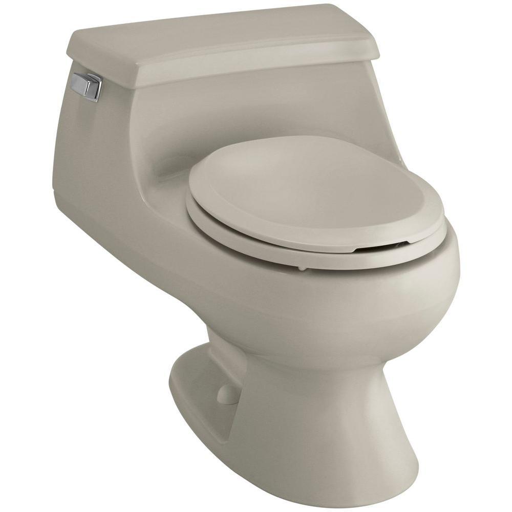KOHLER Rialto 1-piece 1.6 GPF Single Flush Round Toilet in Sandbar