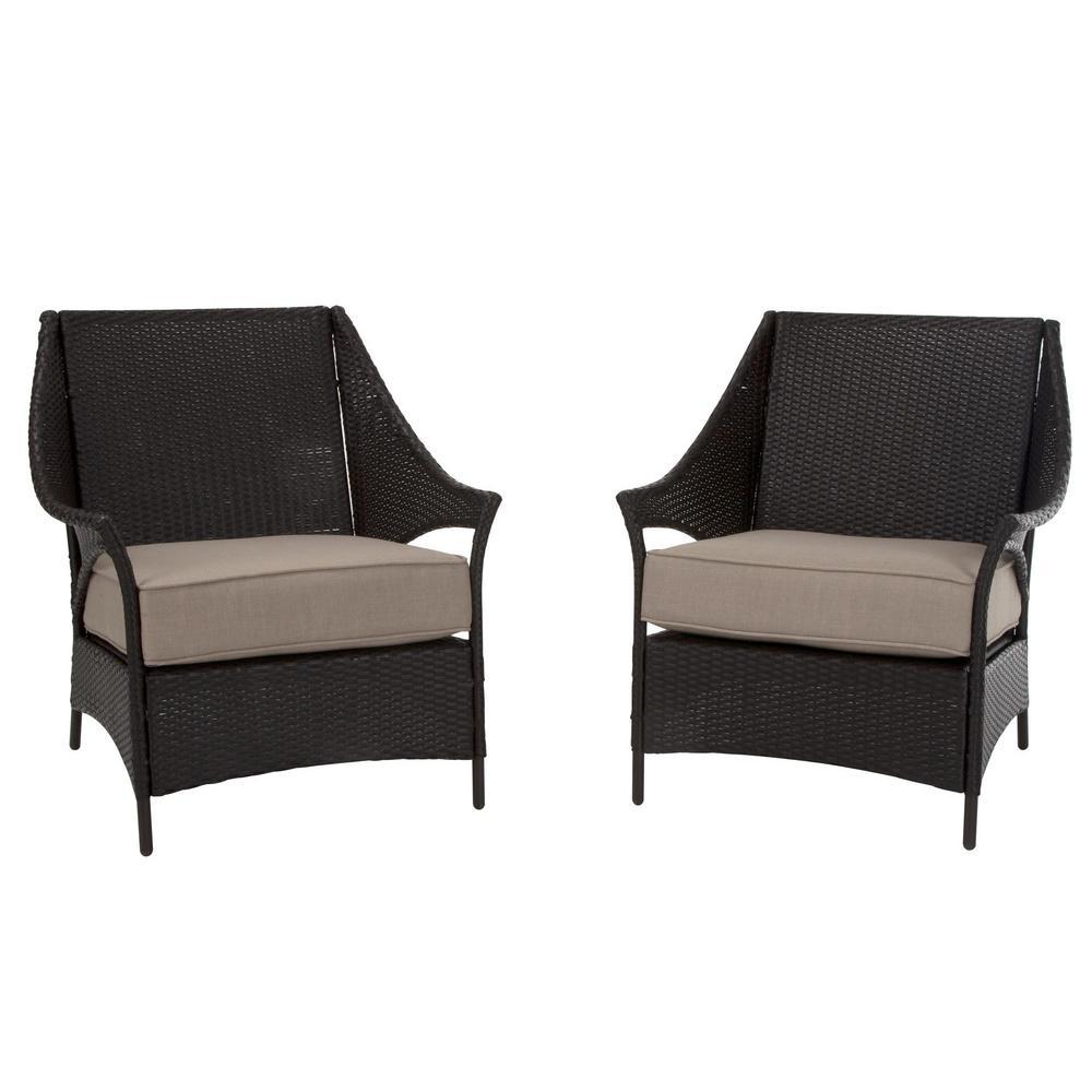 Lakewood Isle Dark Brown Wicker Deep Seating Outdoor Lounge Chairs with Tan Cushions (2-Pack)