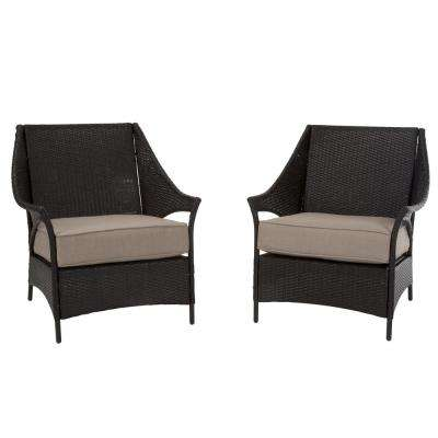 Lakewood Isle Dark Brown Wicker Deep Seating Outdoor Lounge Chairs with Tan Cushions (2-Pack)