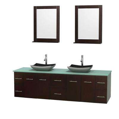 Centra 80 in. Double Vanity in Espresso with Glass Vanity Top in Green, Black Granite Sinks and 24 in. Mirrors