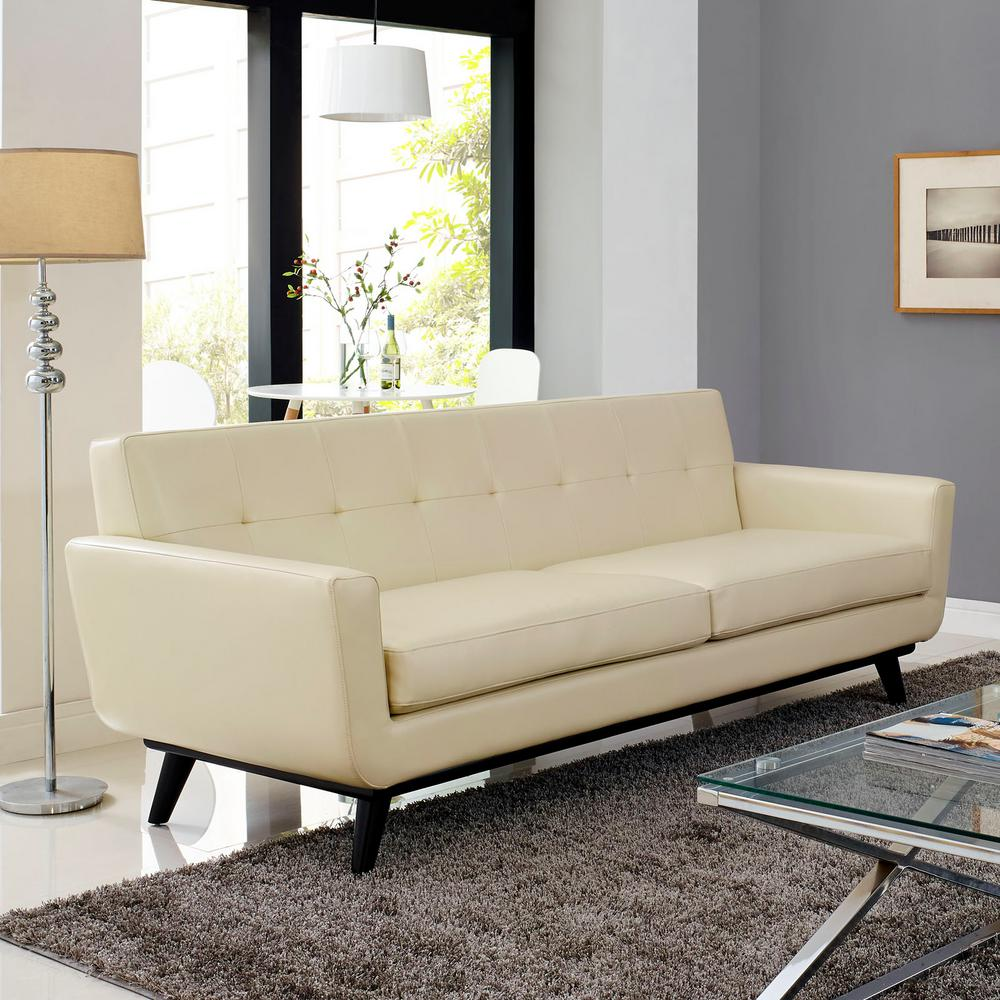Modway Engage Beige Bonded Leather Sofa Eei 1338 Bei The Home Depot