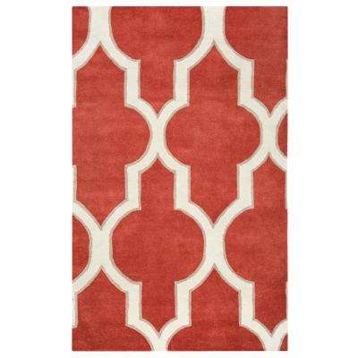 Volare Red Trellis Hand Tufted Wool 8 ft. x 8 ft. Round Area Rug
