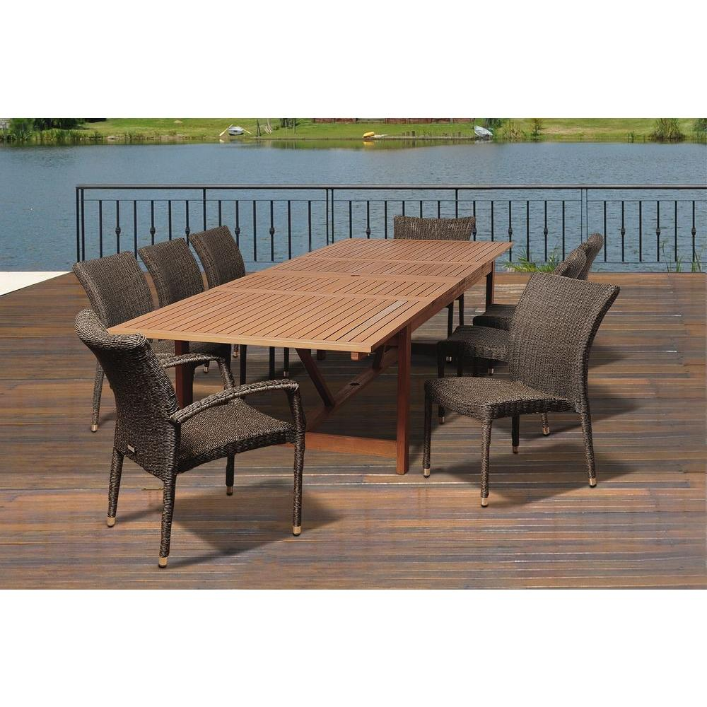 amazonia lewis 9 piece eucalyptus extendable rectangular patio dining set sc ley 6bari 2bariarm. Black Bedroom Furniture Sets. Home Design Ideas