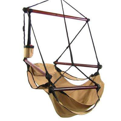 3.75 ft. Fabric Hanging Hammock Chair with Pillow and Drink Holder in Tan