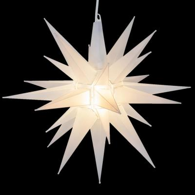 14 in. Illuminated LED Clear Frosted Holiday Moravian Star