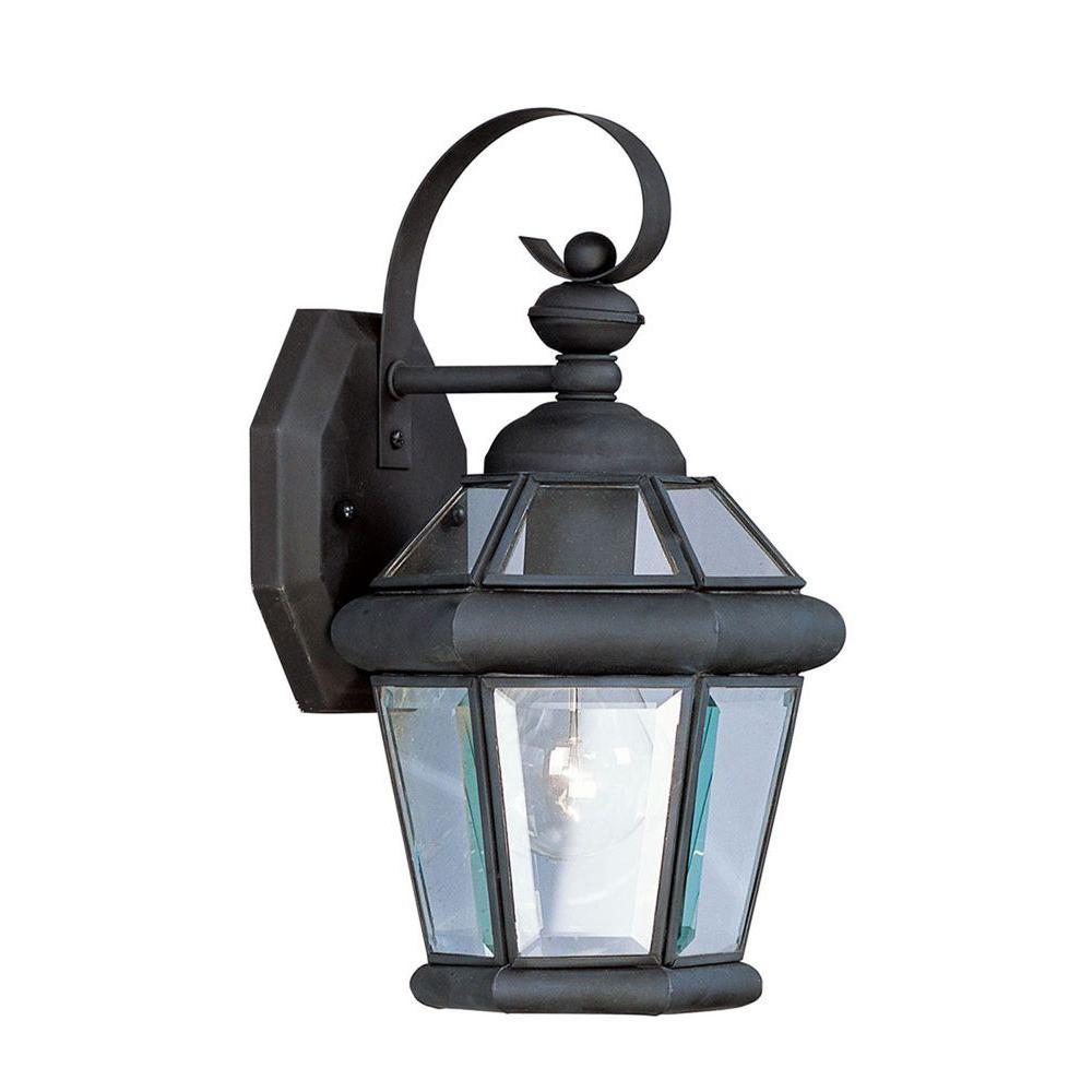 Wall-Mount 1-Light Black Outdoor Incandescent Lantern