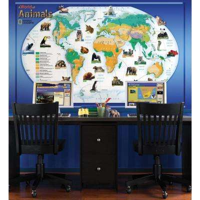 48 in. x 72 in. A World of Animals Wall Mural