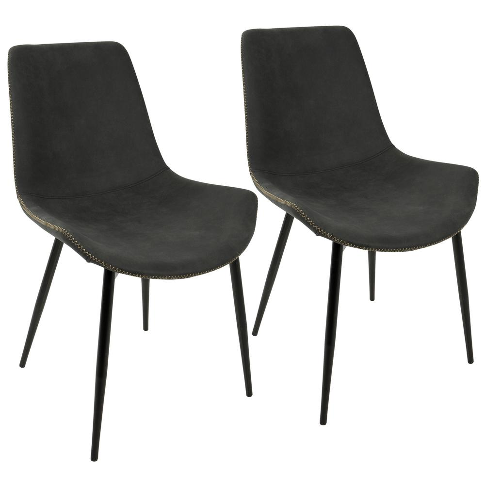 Lumisource duke black and grey dining chair set of 2 dc for Grey and black dining chairs