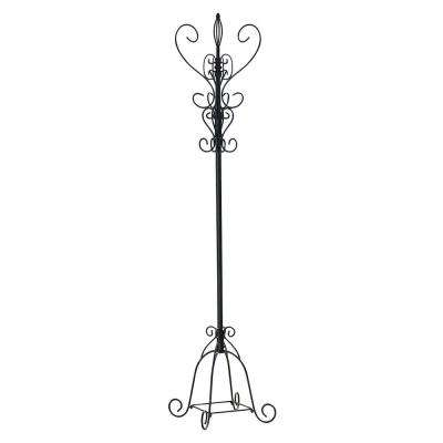 Black Metal Scroll Hall Tree Hat and Coat Rack
