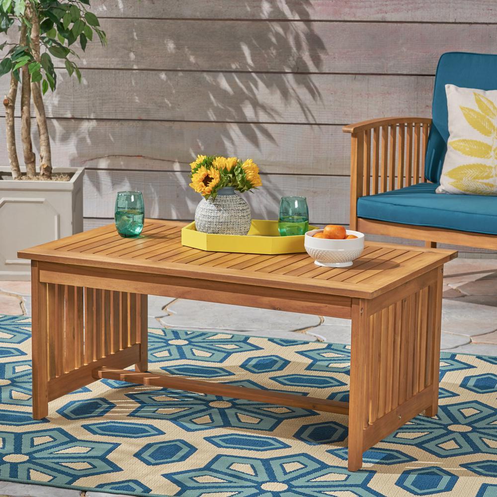 Carolina Brown Patina Rectangular Wood Outdoor Coffee Table