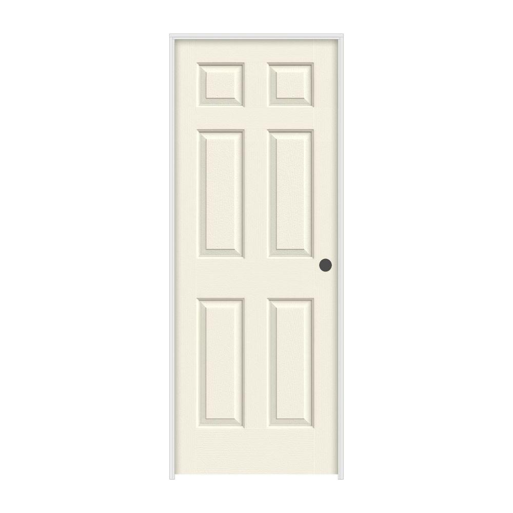36 in. x 80 in. Colonist Vanilla Painted Left-Hand Textured Molded